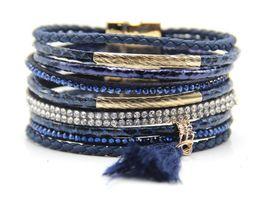 Círculos do ímã on-line-Amo pulseira de couro para meninas Designer de luxo jóias mulheres pulseiras ímã fivela pulseira pulseira sanke Multilayer Belt Circles