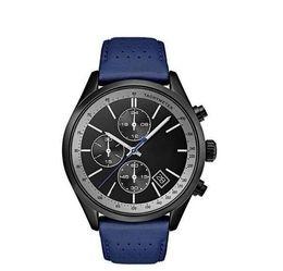 Модные кварцевые хронографы мужские часы с черным циферблатом с кожаным ремешком мужские часы 44мм синий кожаный ремешок 1513563 + коробка от Поставщики кожаный ремешок для часов