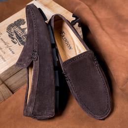 Zapatos mocasines para hombre online-Hombre ocasional de los holgazanes de cuero para hombre de los zapatos del barco de otoño del resorte de manera masculino del conductor de los holgazanes del resbalón cómodo en Pisos zapatilla de deporte para los hombres