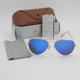 лучшие спортивные очки Скидка Лучшее качество Марка дизайнер моды Txrppr Золотая рамка синий зеркало солнцезащитные очки для мужчин и женщин UV400 Спорт солнцезащитные очки с коробкой