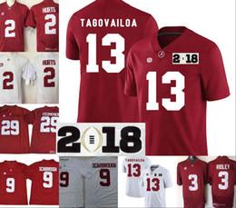 Canada Alabama Crimson Tide # 13 Tua Tagovailoa 2018 Championnat NCAA Blanc Jersey Rouge 2 Noir supplier football jersey stitch Offre