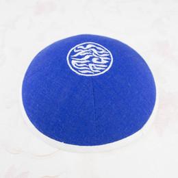 Cupola di tessuto online-Kippah kippot personalizzato yarmulke Royalblue kipa kippa kipot zucchetto, cupola per matrimonio bar-mitzvah tessuto in lino con ricamo 100 pz / lotto