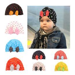 Точечная детская шапка онлайн-Cute Bowknotted Dot  Hat Bandanas baby girls kids turban headband hair head bands wrap accessories for children headwrap
