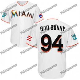 patches de bandeira Desconto # 94 Bad Mafia Bunny Camisolas de Beisebol Com Bandeira de Porto Rico e Marlins 25o Aniversário Remendo Homens Mulheres Jérsei de Beisebol