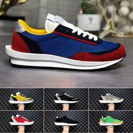 Gofre azul mujer online-2019 Mens LD Waffle Running Shoes Sacai Green Multi Blue moda mujer entrenadores zapatos Breathe Tripe zapatillas deportivas 36-45