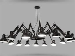 2019 lámparas de araña El más nuevo Araña Araña Negra Iluminación Retráctil brazo Lámpara Industrial Retro Oficina de la Oficina Creativa Tienda Bar Iluminación Pendiente lámparas de araña baratos