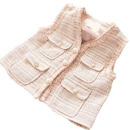 Gilet en laine fille automne en Ligne-laine gilet filles perle gilet enfants nouvel automne hiver enfants vêtements de designer filles manteau Vest enfants outwear A7286