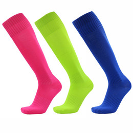yellow football socks Promo Codes - Solid Long Tube Socks Outdoors Sports Striped Elastic Socks Breathable Anti Friction New Fashion Top Quality Fast Dry Football Socks