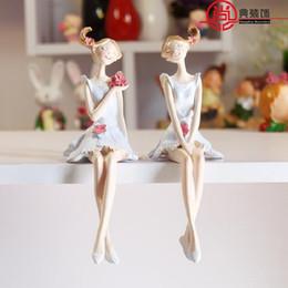 Fußschmuck online-2 teile / satz Dekoration Zubehör Artesanato Ornamente Harz Kreative Engel Garten Dekoration Hängende Füße Puppe Enfeites Par