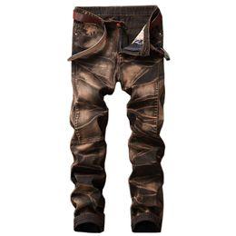 jeans lavati in pietra Sconti MORUANCLE Jeans vintage da uomo di moda pantaloni retrò denim dritto pantaloni per uomo più dimensioni 29-42 Stone lavato