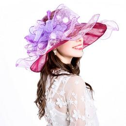 Cappello da sposa estivo online-Ruffles Berretto da sposa Moda Beach Summer Wide Brim Primavera regalo ragazza donne cappelli pieghevole casual Anti-UV Party