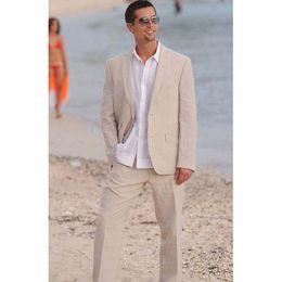 2019 marié en robe de mariée 2019 Costume de costume de plage d'été pour hommes Linen 2 bouton robe de mariée marié porter dernier costume de costume de veste de costume pour hommes sur mesure (veste + pantalon) ZQ marié en robe de mariée pas cher