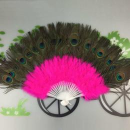 abanico de baile de plumas de pavo real Rebajas Peacock abanicos de plumas de danza del vientre Ventilador aficionados al baile favores de partido para las mujeres escenario de funcionamiento favores de Suministros 37 * 60cm 11color