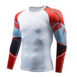 Camisas de manga longa de super-herói on-line-3D Superhero Men Moda T-Shirt Compressão de Fitness Camiseta Crossfit Superman Capitão América Homem Aranha Tops Camisa de Manga Longa