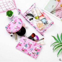Sacchetto cosmetico del gufo online-3pcs Pack Portable Cosmetic Storage Bag Cartone animato Alpaca Owl Viaggi trasparenti Cosmetici da bagno Bath Wash Make Up Zipper Coin Purse