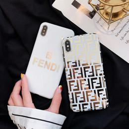 Cajas del teléfono celular chapado en oro online-Diseñador de lujo caja del teléfono para iphone 6/7/8 más xs max / XR TPU chapado de oro de alta calidad cubierta del teléfono celular stunk envío de la gota hacia atrás