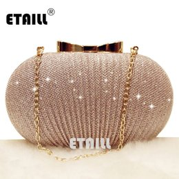 2019 borse da sera nude ETAILL Champagne Nude Clutch Evening Bag per le donne 2018 Glitter Party Banquet Bag Ragazze Wedding Clutch Chain Shoulder # 235957 borse da sera nude economici