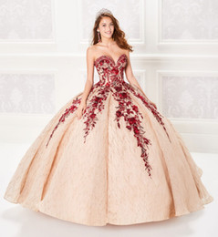 lace up corset prom dresses Promo Codes - 2019 Ball Gown Champagne Quinceanera Dresses Beaded Bodice Corset Red Appliqued Prom Dress Gorgeous Glitter Princess Gowns Lace-up