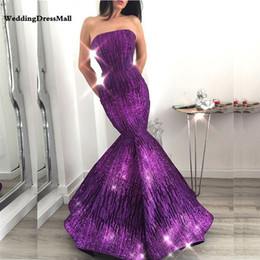 Long Purple Mermaid Glitter Abendkleider Arabic Evening Dress 2019 Dubai  Formal Kaftan Lebanon Prom Party Gowns discount image dresses lebanon 6105adb3f689