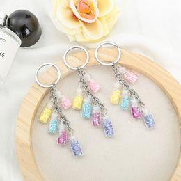 vidro colorido Desconto 2019 Popular Colorized estrela drift garrafa Keychain 5 Chaveiros garrafa de vidro para presentes do amante chaveiro para o carro Bags Chaveiro
