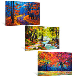 contemporary pictures paintings Promo Codes - Color Maple Wall Paintings Canvas Wall Art Contemporary Artwork for Home Decorations for Living Room Unframed 3 Panel Canvas Picture