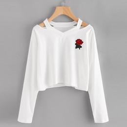 Meninas preto jumpers on-line-2019 Mulheres Meninas Magro camisola V-Neck Rose soltas Holes camisola Black Rose luva longa Jumpers Pullovers