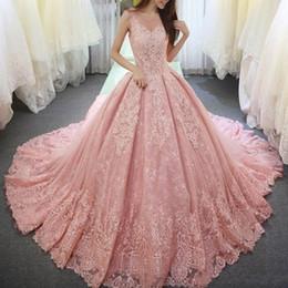 Vestido De Fiesta Rosa Perla Vestidos De Quinceañera Apliques Encaje Dulce 16 Vestido Escote Redondo Vestido De Festa Corsé Largo Tul Vestidos De