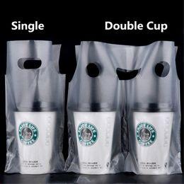 Bebida de plástico branco on-line-Sacola de café Branco Transparente Embalagem de Bolso Único e Duplo Copo Sacos De Plástico Coque de Chá Beber Bolsa