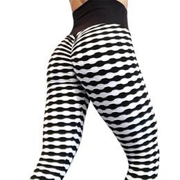 blanco ropa deportiva Rebajas Yoga rayas plisadas pantalones de cintura alta Leggings deportivos Negro blanco Fitness Workout pantalones Gym Training Sportswear # 864870