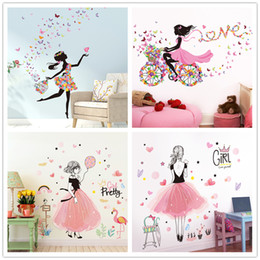 Pegatinas de mariposa para la habitación de las niñas online-Hada Chica Pegatinas de Pared Vinilo DIY Mariposas Flores Calcomanías Murales para Casa Habitación de Niños Decoración de Dormitorio de Bebé