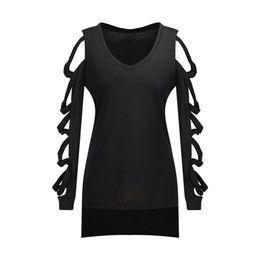 2019 loja das camisas da forma t 1 Pcs Mulheres Senhora Manga Comprida Com Decote Em V Cor Sólida Top T-shirt Moda para a Festa NYZ Loja loja das camisas da forma t barato