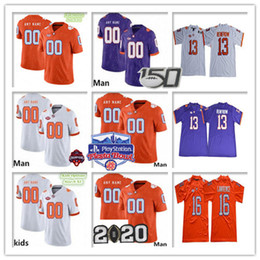 2021 tigelas tigre Custom 2020 Clemson Tigres Tee Football Tee Higgins Amari Rodgers Tanner Muse Lawrence Lyn-J Dixon Ross Booth Jr. Campeões Fiesta Bowl Jersey