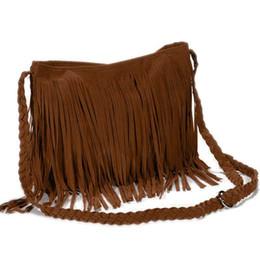 Bolso con flecos marrones online-Bolso bandolera flecos mujer tendencia marron