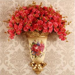a3040e637cb 2019 paniers Américain Rétro Tenture Murale Résine Vase Mur Pot De Fleurs  Panier Maison Salon Fond