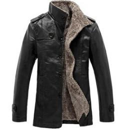 2019 jaqueta de couro dos homens 6xl Homens jaqueta de couro nova moda lazer outono inverno pu na seção longa gola casaco preto marrom jaqueta de couro jaqueta de couro dos homens 6xl barato
