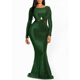 c416010f2 Clocolor Elegante de lentejuelas verde sin espalda damas Sheer noche moda  mujeres sirena Tight Party Club vestido largo y sexy