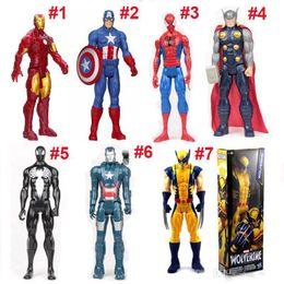 Heiße spielzeug kapitän amerika rächer online-Hot The Avengers PVC Action-Figuren Marvel Heros 30cm Iron Man Spiderman Captain America Ultron Wolverine Abbildung Spielwaren DHL Free 5