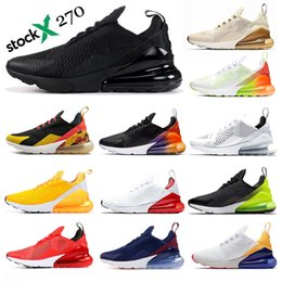 Compre Nike Air Max 270 Shoes Airmax 270 Black And Beige Mens Running Shoes Bred Regency Purple Habanero Red Volt Core White Outdoor Sports Men Women