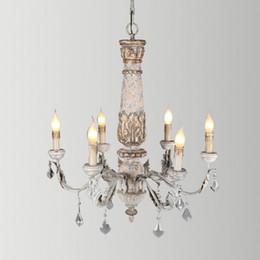 Argentina Araña de madera rústica iluminación lampadario cristal vintage lustre cristal led avize art deco arañas techo nórdico decoración lámpara Suministro