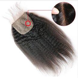 Kinky Düz 4x4 Ipek Üst Dantel Kapatma İnsan Saç Ile Brezilyalı Remy İsviçre Dantel Kapatma Bebek Saç Yaki Düz saç nereden