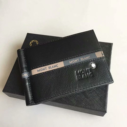Titular de la tarjeta de visita de cuero negro online-Clásico de los hombres de lujo de cuero genuino titular de la tarjeta de crédito MB billetera negocio de la moda caballero negro carteras cortas