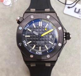 Relógios impermeável on-line-13Tim Venda Quente de Luxo Royal Oak Offshore Diver 42mm Movimento Automático Série 15703 Cinto de Borracha Mens Black Dial Sports Glass Back Relógios