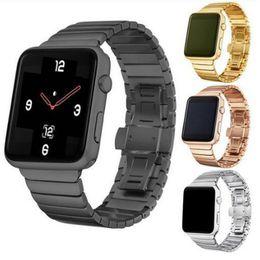 Cuentas de manzana online-Elegante banda de metal de acero inoxidable para Apple reloj correa de reloj inteligente Reemplazo One Bead negro astilla oro rosa