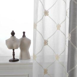 2019 cortinas de linho bordadas Coreano Branco Fantasia Linho Bordado Voile Cortinas Cortinas Brancas para Quarto para Sala de estarTule Janela cortinas de linho bordadas barato