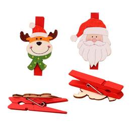 clips de madera diy Rebajas Chrismas Cartoon Clip de madera Santa Claus Elk Snowman Bear DIY 4 diseños Decoración de Navidad Photo Clips Festival Party Supplies 08