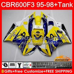 honda cbr yellow Скидка Кузов + бак для HONDA Желтого CORONA CBR 600F3 600cc CBR600 F3 95 96 97 98 41HC.9 CBR 600 FS F3 CBR600FS CBR600F3 1995 1996 1997 1998 обтекателя