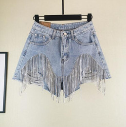 Uñas de porcelana online-Nail Diamond Tassel Denim Shorts Mujeres Wid Leg Verano Borlas pesadas Cintura fina Jean Shorts OOA7013