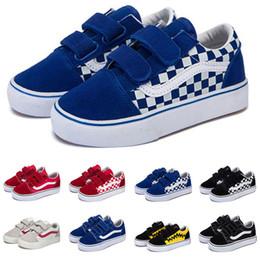 Zapatos de moda para niños baratos online-Vans Zapatillas de lona baratas old skool niños bebé niña niños zapatos negro blanco azul moda pisos skateboard casual calzado