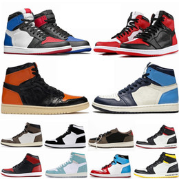 basketball de haut niveau Promotion air Jordan Retro 1 High OG Travis Scotts chaussures de basket-ball Spiderman UNC top 3 1s Hommes Hommage à Home Royal Bleu Hommes Sport Designer Baskets Sneakers