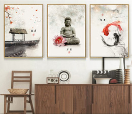 Impression d'art mural bouddha en Ligne-Nouvelle encre de Chine Fleurs Bouddha 3 Pièces Mur Art Imprimer Image Toile Peinture Affiche pour Salon Pas Encadré